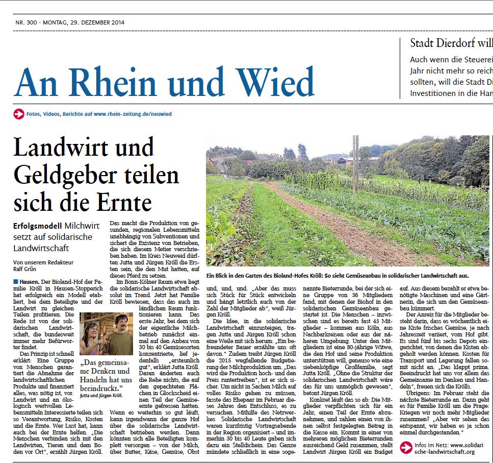 Solawi-Artikel Rheinzeitung 29.12.2015